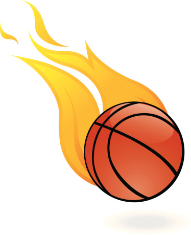 374x459 Flaming Basketball Clipart