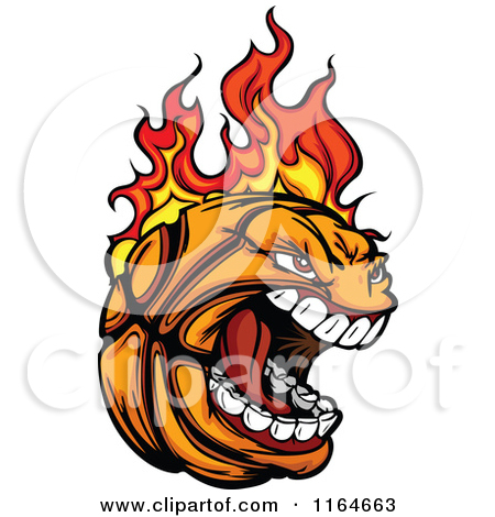450x470 Flaming Basketball Clipart