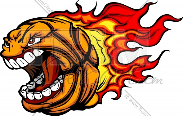 590x374 Flaming Basketball Clipart Image. Easy To Edit Vector Format.