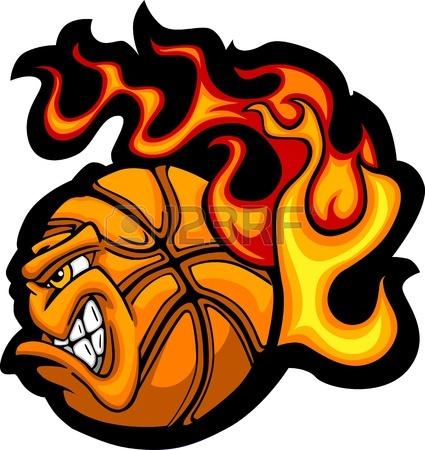 425x450 Flaming Basketball Face Cartoon Royalty Free Cliparts, Vectors