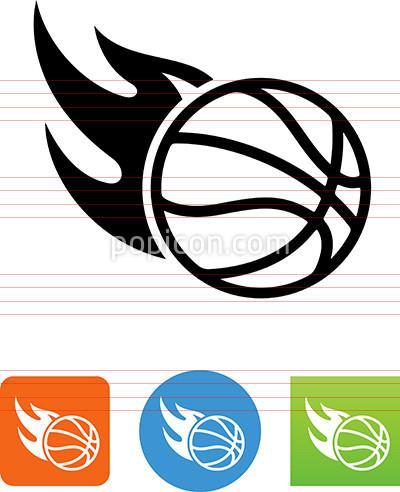 400x492 Flaming Basketball Icon