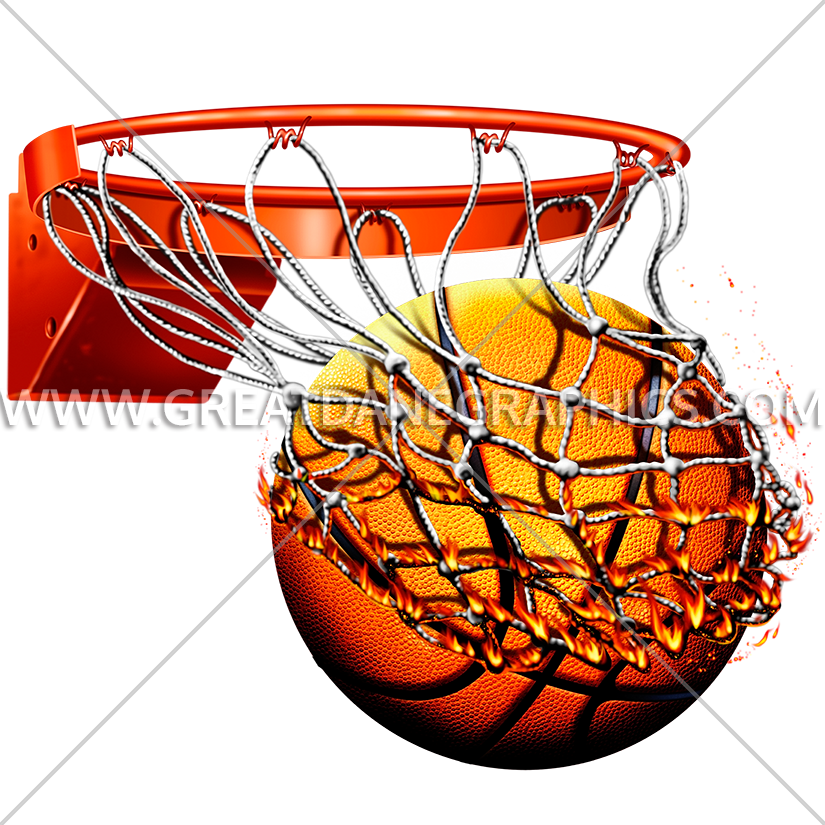 825x825 Flaming Basketball With Net Production Ready Artwork For T Shirt