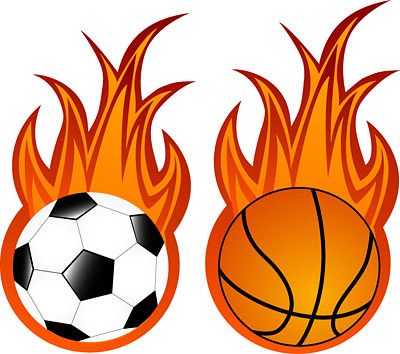 400x354 Flaming Basketball Clipart