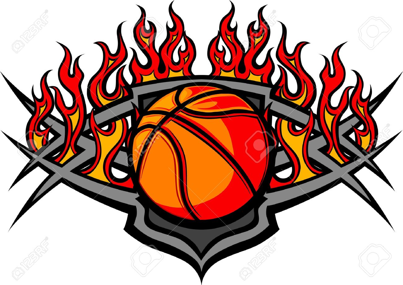 1300x921 Graphic Basketball Ball Image Template With Flames Royalty Free