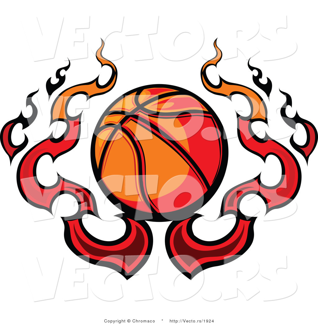 1024x1044 Vector Of A Flaming Cartoon Basketball Design By Chromaco
