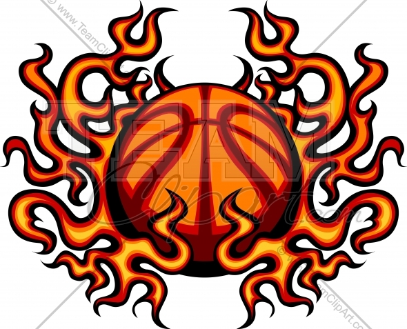 590x477 Basketball With Flames Clipart