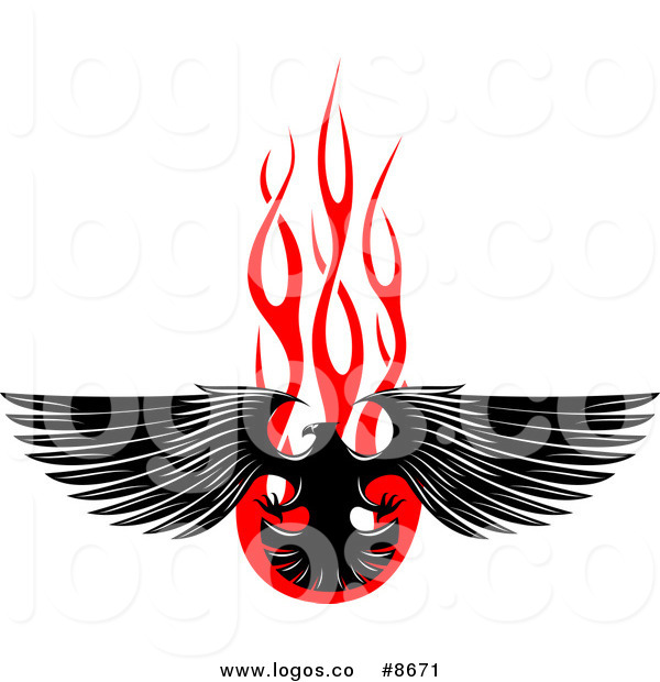 600x620 Royalty Free Clip Art Vector Logo Of A Black Eagle And Red Flames