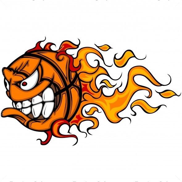 590x590 Basketball Flame Cartoon