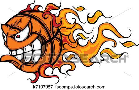 450x293 Clip Art Of Flaming Basketball Face Cartoon K7107957