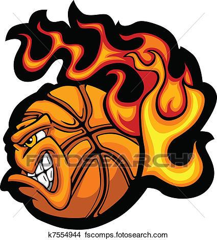 425x470 Clipart Of Basketball Flaming Ball Face Vecto K7554944