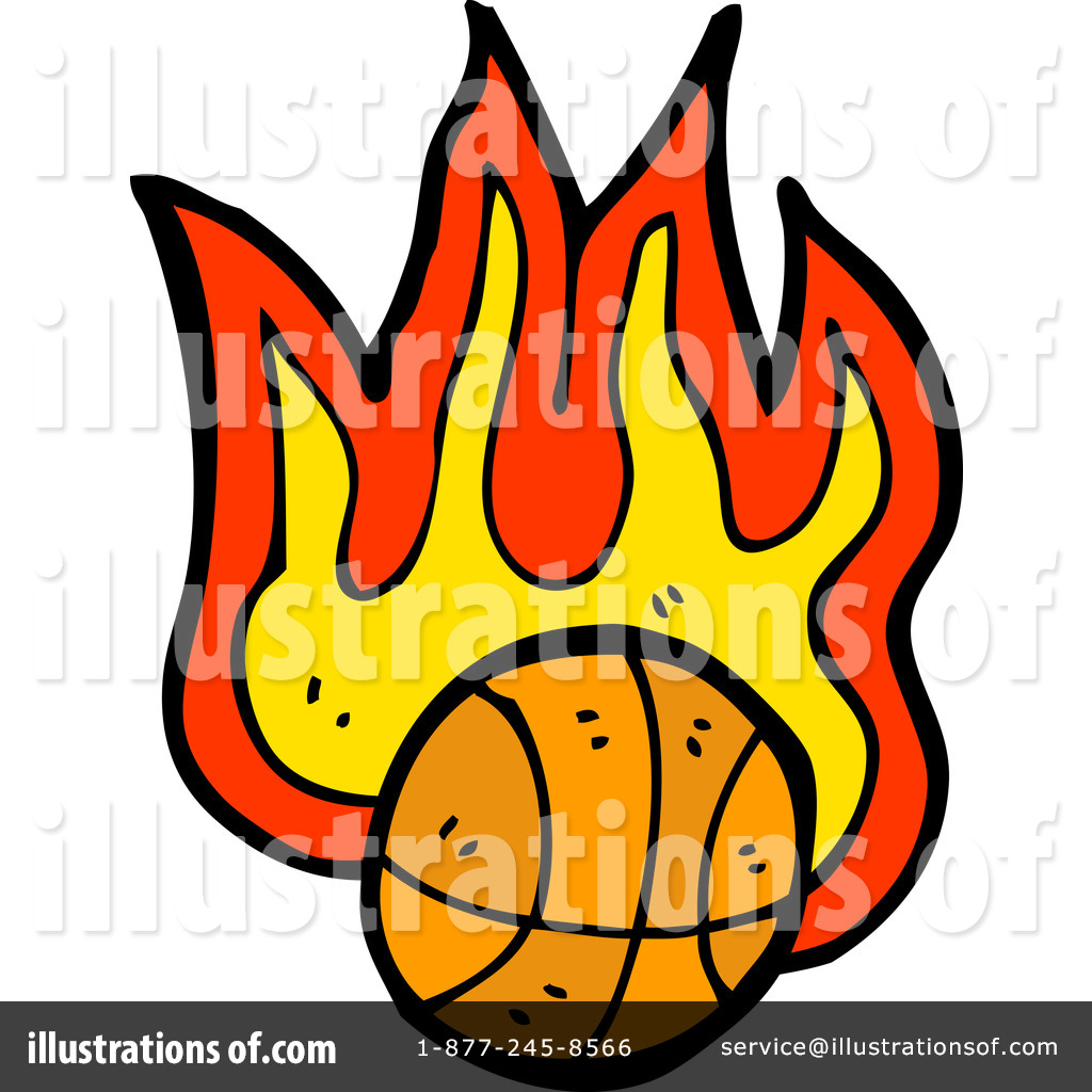 1024x1024 Flaming Basketball Clipart