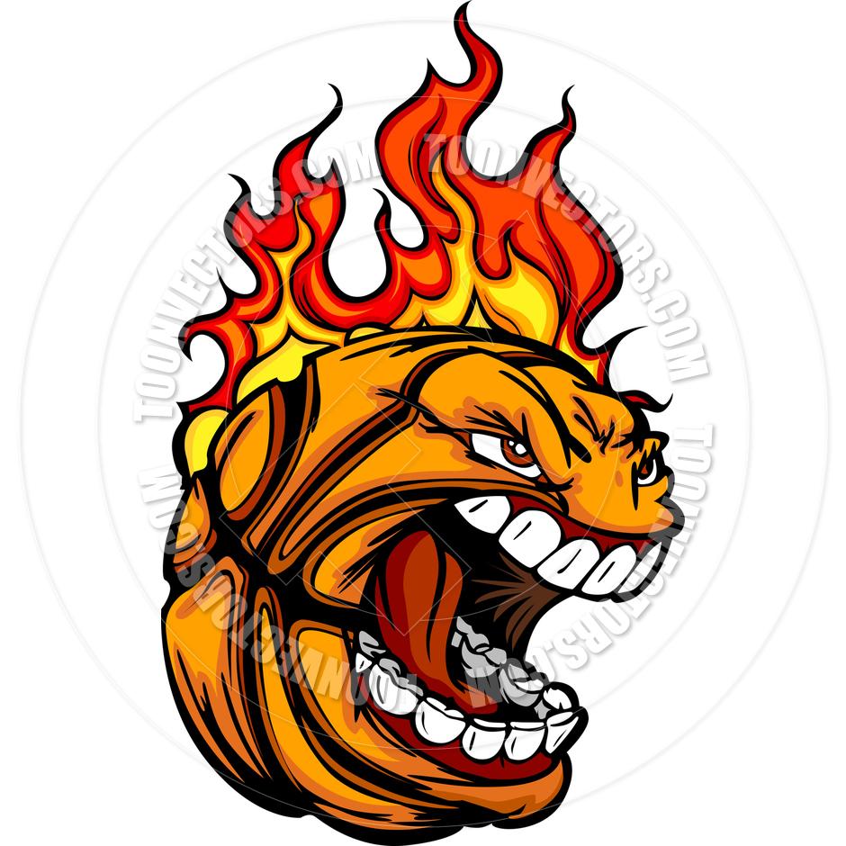 940x940 Flaming Basketball Clipart