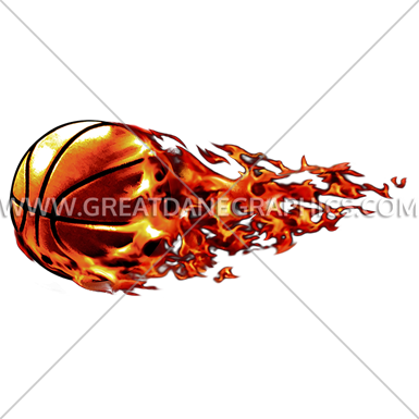 385x385 Flying Flaming Basketball Production Ready Artwork For T Shirt