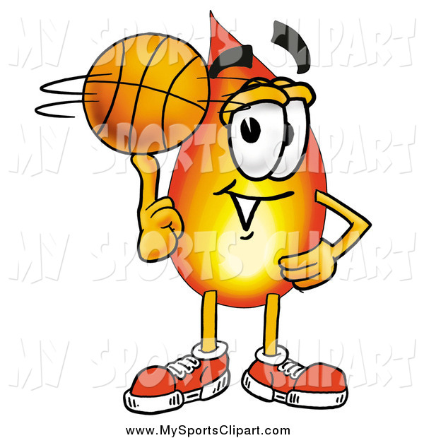 600x620 Sports Clip Art Of A Flame Mascot Spinning A Basketball On His