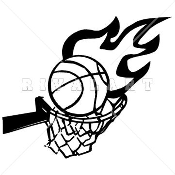 361x361 Sports Clipart Image Of Basketball Hoop Goal Net On Fire Flames