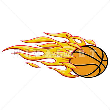 361x361 Sports Clipart Image Of Basketball On Fire Flaming Blazing Blazers