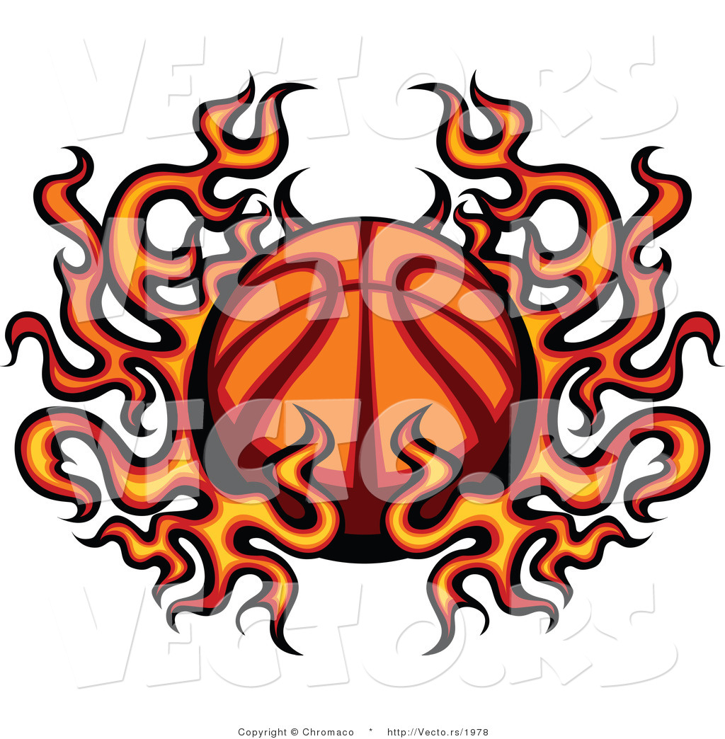 1024x1044 Vector Of A Flaming Cartoon Basketball By Chromaco