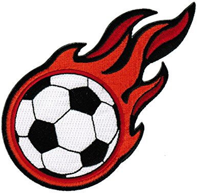 385x376 Flaming Soccer Ball Patch Embroidered World Cup Iron On Football