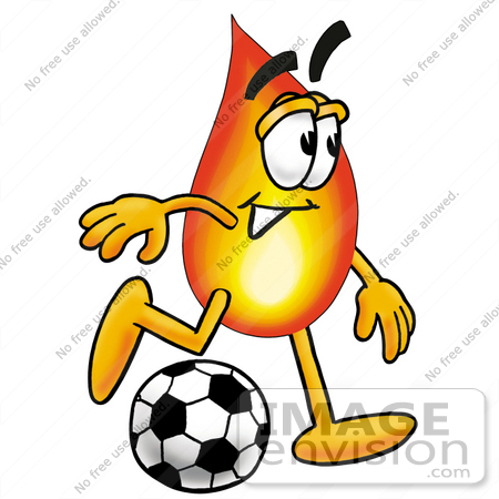 450x450 Clip Art Graphic of a Fire Cartoon Character Kicking a Soccer Ball