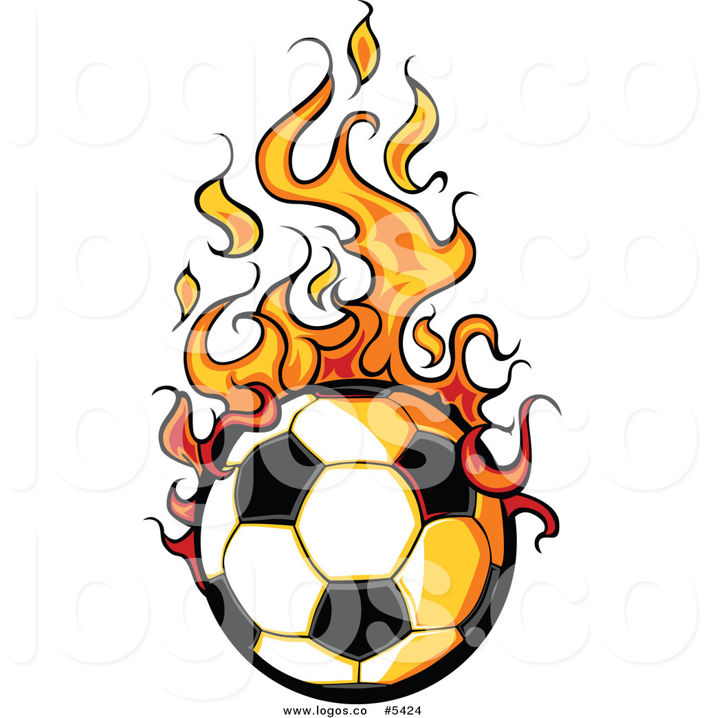 1024x1044 Royalty Free Vector of a Logo of a Hot Soccer Ball with Flames by