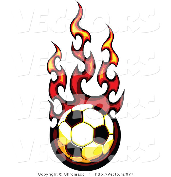 600x620 Vector of a Fast Soccer Ball Engulfed in Flames by Chromaco
