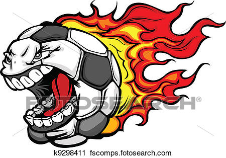 450x314 Clipart of Flaming Soccer Ball Screaming Face Vector Cartoon