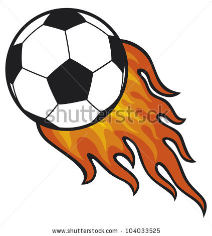 423x470 Flaming Soccer Ball Clipart