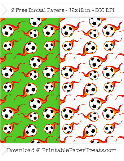 400x518 Flaming Soccer Ball Digital Papers