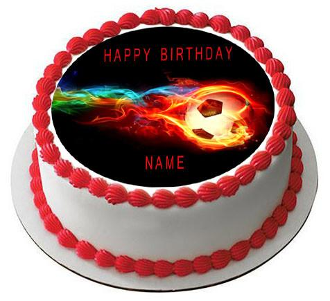 476x435 Flaming Soccer Ball Edible Cake Topper Amp Cupcake Toppers Edible