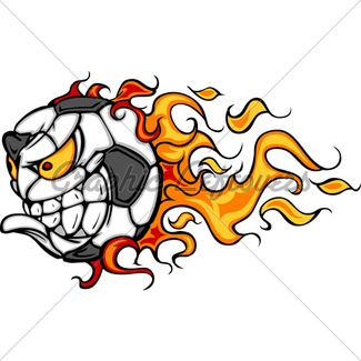 325x325 Flaming Soccer Ball Screaming Face Vector Cartoon Gl Stock Images