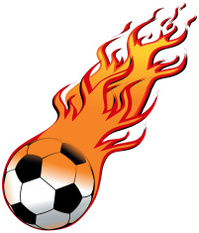 199x233 Flaming Soccer Ball Stock Vector