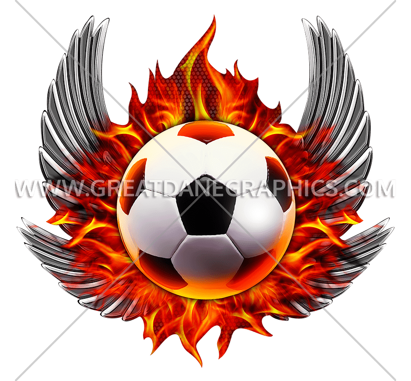 825x765 Flaming Soccer Wings Production Ready Artwork For T Shirt Printing