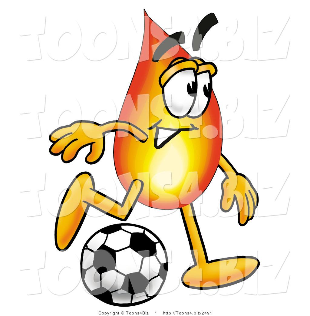 1024x1044 Illustration Of A Cartoon Fire Droplet Mascot Kicking A Soccer