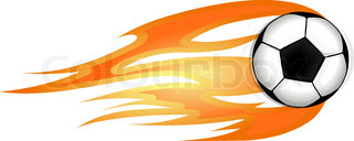 320x128 Illustration Of A Fast Moving Soccer Ball On Fire Stock Vector