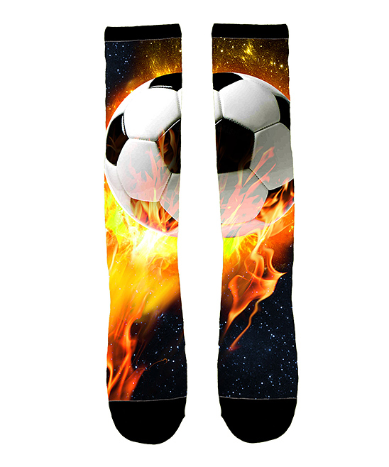 548x658 Instant Message Flaming Soccer Ball Sublimated Knee High Socks