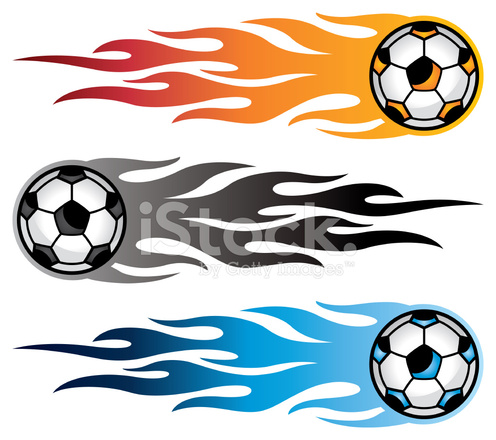 496x440 Soccer Ball Flames Stock Vector