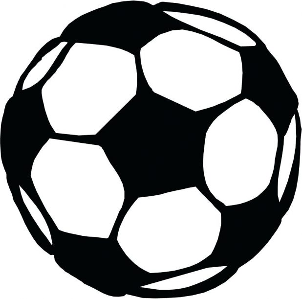 618x611 Coloring Page Outline Of A Boy Kicking Soccer Ball Stock Vector