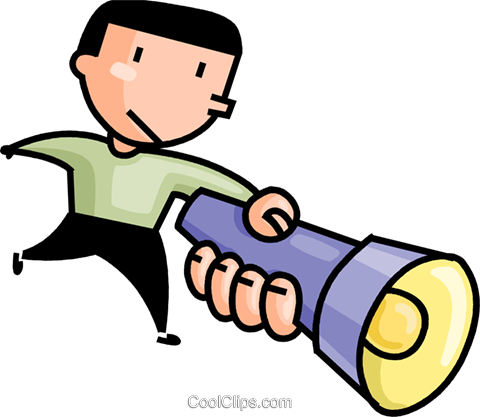 480x417 Man With A Flashlight Royalty Free Vector Clip Art Illustration