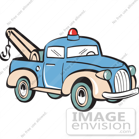 450x450 Royalty Free Cartoon Clip Art Of A Blue Toy Tow Truck With A Hook