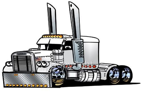 500x323 Big Rig Semi Truck Freight Hauler Cartoon T Shirt Outline