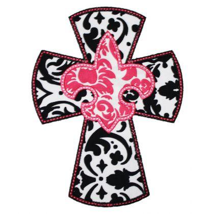 420x420 Applique Only Fleur De Lis Cross Applique