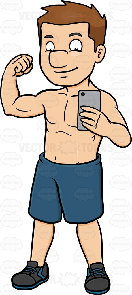 458x1024 A Guy Flexing His Muscle While Posing To Take A Photo Of Himself