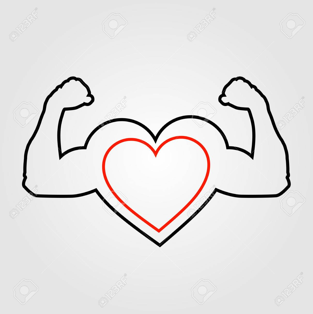 1293x1300 A Heart With Flexing Muscles Healthy Heart Royalty Free Cliparts