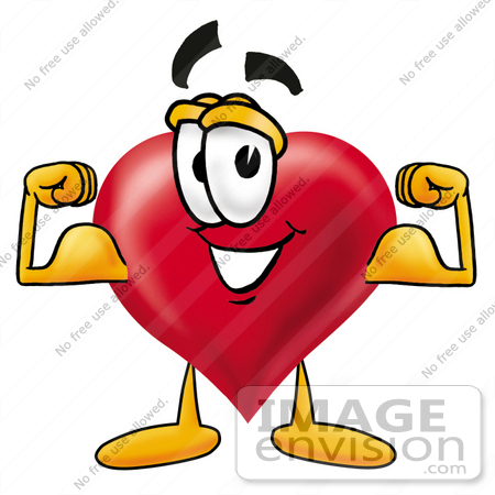 450x450 Clip Art Graphic Of A Red Love Heart Cartoon Character Flexing His
