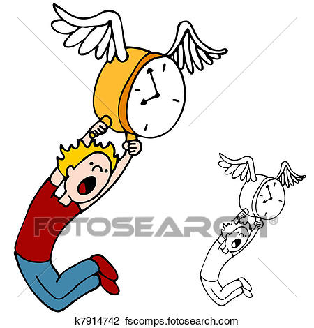 450x470 Clipart Of Time Flies K7914742