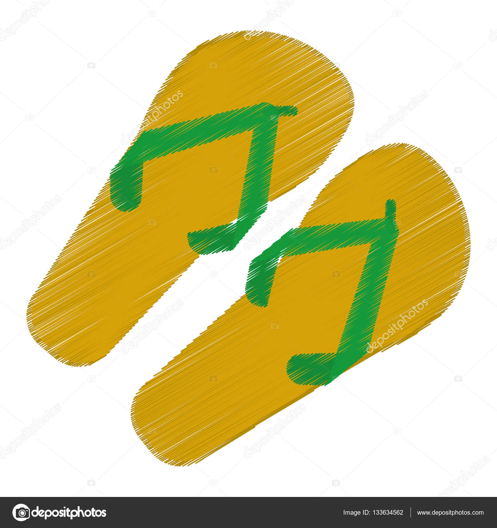 1600x1700 Drawing Green And Yellow Flip Flop Brasilian Stock Vector