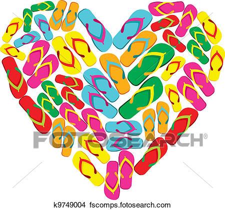 450x420 Clipart Of Flip Flops In Love Heart Shape K9749004