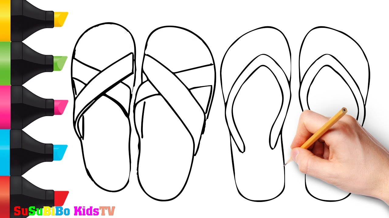 1280x720 How To Draw Sandal Steps By Steps How To Draw For Kids