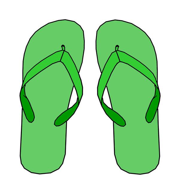 615x615 Green Flip Flops Clipart