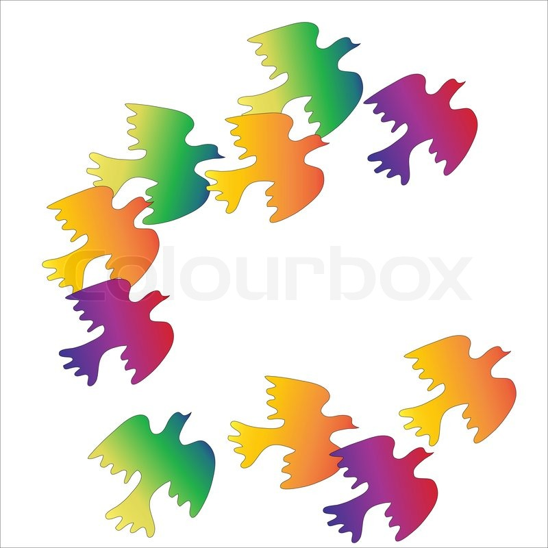 800x800 Flock Of Colorful Birds On A White Background Stock Vector